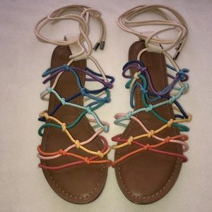 Mossimo Lace Up Gladiator Sandals Rainbow
